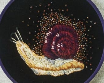 Embroidered Beadwork Snail