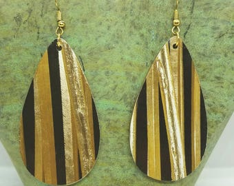 Gold Pencil Teardrop Earrings