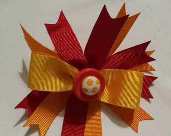 Claret and Amber Football HairBow