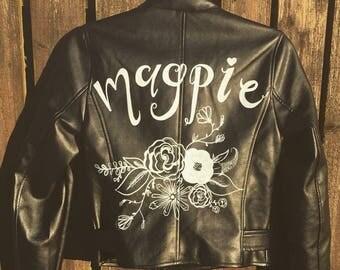 Custom Bridal Jacket Personalised Name Initials Leather