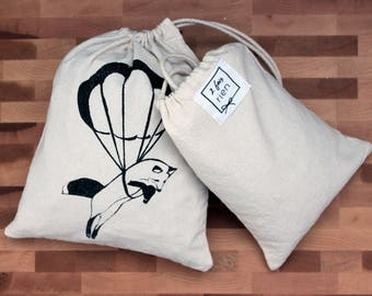 Bag in bulk, reusable cotton bag, handprinted, zero bag waste