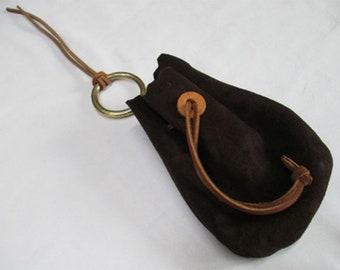 Dark Brown Suede leather Drawcord Larp Belt pouch (Br45)