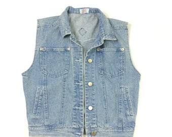 E.Z. Spirit Denium Jean Vintage Vest Size Med (runs Small) 80's 90's