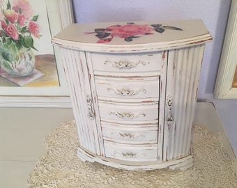Shabby Chic Painted vintage jewelry box, jewelry armoire, romantic cottage style,