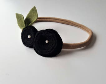 Black Rolled Flower Headband