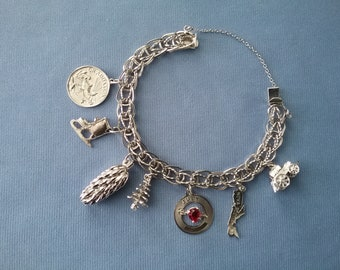 Vintage Sterling Silver Charm Bracelet with 7 charms