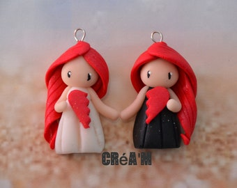 Set of 2 Poupettes polymer clay black and white dresses - BFF Collection - handmade jewelry