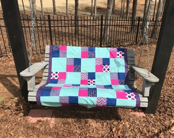 Teal, hot pink, and navy blocks handmade baby quilt