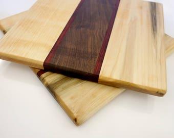 Hardwood Cutting Board - Maple, Paduak, and Walnut