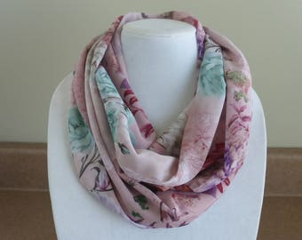 Pink floral infinity scarf