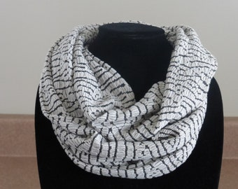 Cream and black infinity scarf