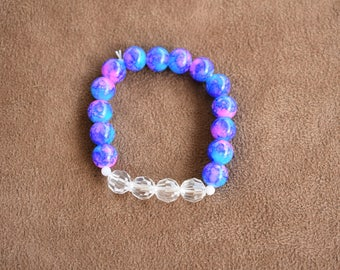 Beaded stretchy bracelet blue and pink