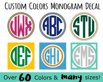 Multi-Color Circle Monogram Sticker | Vinyl Decal with Frame | FREE SHIPPING | Many colors & sizes to choose | Oracal Brand Vinyl