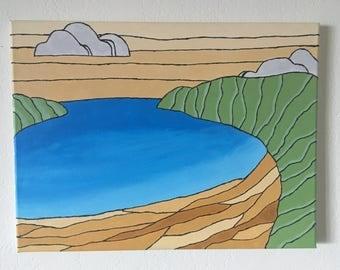 "Original Hanauma Bay Acrylic Painting - 11"" x 14"""