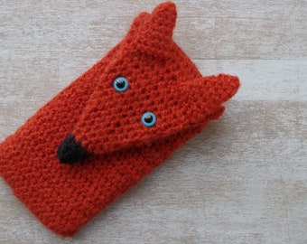 Hand knit red ginger fox cell case for external drive, iphone, smartphone. Soft knitted universal size