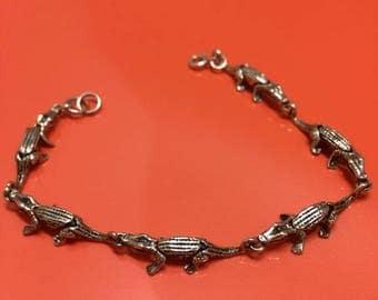 Vintage Sterling Gator bracelet, Florida Gators Silver bracelet. Alligators .925 silver.