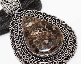 Turritella Fossil Agate Handmade 925 Silver Plated Pendant