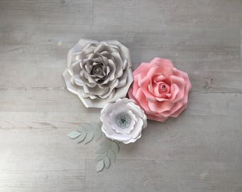 3 paper flower set - large/medium/small