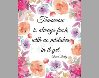 Anne of Green Gables Quote Inspired Watercolor Floral