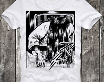 T-Shirt Sadako Yamamura The Ring Manga Anime Japan Japanese Cult Horror Movie Death Proof White Distressed Retro Vintage 80s cult