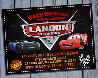 Cars 3 Birthday Invitation, Lightning Mcqueen Party Card Invite, Race Movie Printable Digital Invitations, Custom Car Printables