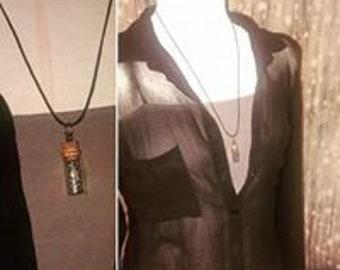 Snakeskin vial necklace