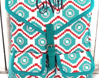 Turquoise and Red Dazzling Daze Two Front Pocket Drawstring Backpack