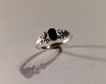 Ring in silver 925/-With Onyx