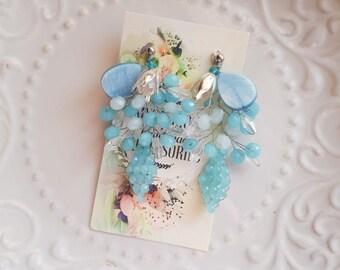 Blue wedding earrings