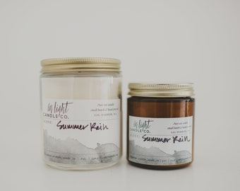 Summer Rain (fresh water, rose, lily & lavender) - 8 oz pure soy hand poured candle