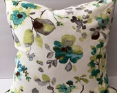 Grey green white watercolor floral pillow, cover only