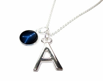 ZODIACA - Cancer Star Sign Initial Letter Charm Pendant Necklace