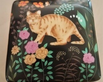 Vintage Porcelain trinket box featuring Cat and flowers