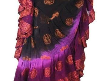 25Yard Multicolor Tribal TyeDyed Gypsy Layer Beautiful ATS Skirt~