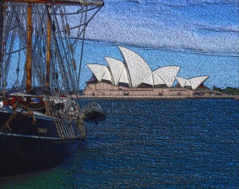 Simulated woodcut print of Sydney Harbour, with the Opera House and the tall-ship Svanen, 8x10 Canvas Gallery Wrap