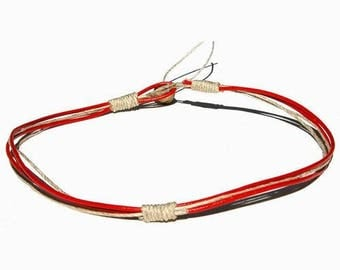 Round Red leather & hemp surfer style necklace