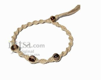 Natural twisted hemp bracelet or anklet with 3 brown bone beads