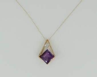 10k Gold Princess Cut Amethyst Necklace