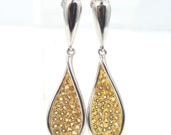 Sterling Silver & Pave Citrine Dangle Earrings