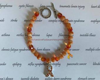 Orange Ribbon Awareness Bracelet, Awareness Bracelet, MS Bracelet, CRPS Bracelet, RSD Bracelet, Lupus Bracelet, Ceramic Bead Bracelet