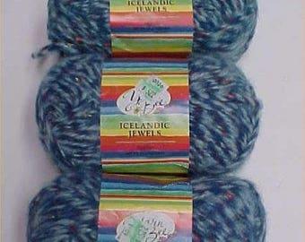 ICELANDIC JEWELS Sapphire Blue Yarn Bee Lot 3 Skeins Discontinued Knit Crochet
