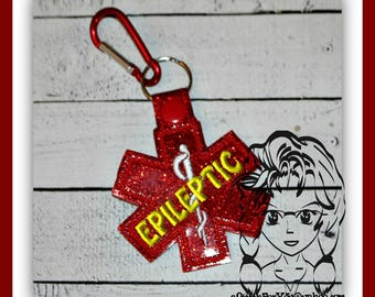 MeDICAL EPILEPTIC Alert Key FOB Key Ring Snap Tab ~ In the Hoop ~ Downloadable DiGiTaL Machine Embroidery Design by Carrie