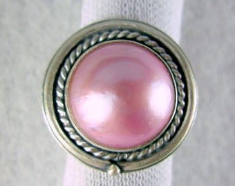 Mabe pearl in pink * ARTIST'S  CHOICE *  comfort band 925 sterling silver ring by silversmith Chelle' Rawlsky OOAK sz 8+ free shipping usa