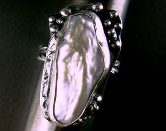 Freshwater baroque pearl FABULOUS sterling silver 925 ring recycled jewelry band silversmith Chelle' Rawlsky 6.5+ gift boxed GIFT SALE ooak