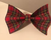 Red Tartan Plaid Holiday Christmas Dog Bow Tie in Small, Medium or Large
