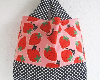 Strawberries and Cats Japanse Fabric Tote Bag | Medium handbag to use as a market tote shopping bag or knit or crochet project tote.