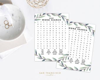 Baby Shower Word Search - Baby Shower Game - Greenery - Eucalyptus Collection - PDF - Instant Download