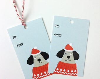 Funny Christmas Gift Tags Set - Dog Holiday Ugly Christmas Sweater Christmas New Year Gift Tag - Funny Gift Tag Set with Twine, Cute Gift