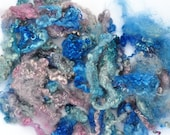 Hand Dyed Mohair - Angora Goat Yearling Locks - Hydrangea - Curly, Wavy - Art Fiber - 3.6 Ounces