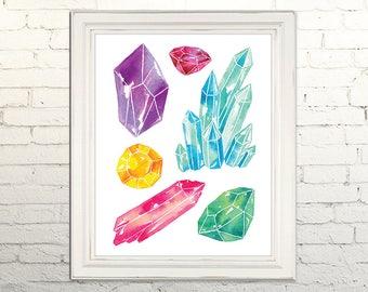 GEMS Printable Art Print Poster Watercolor Illustration Wall Art Decor Stone Nature Crystals Gemstones Minerals Rocks Boho  5x7, 8x10, 11x14